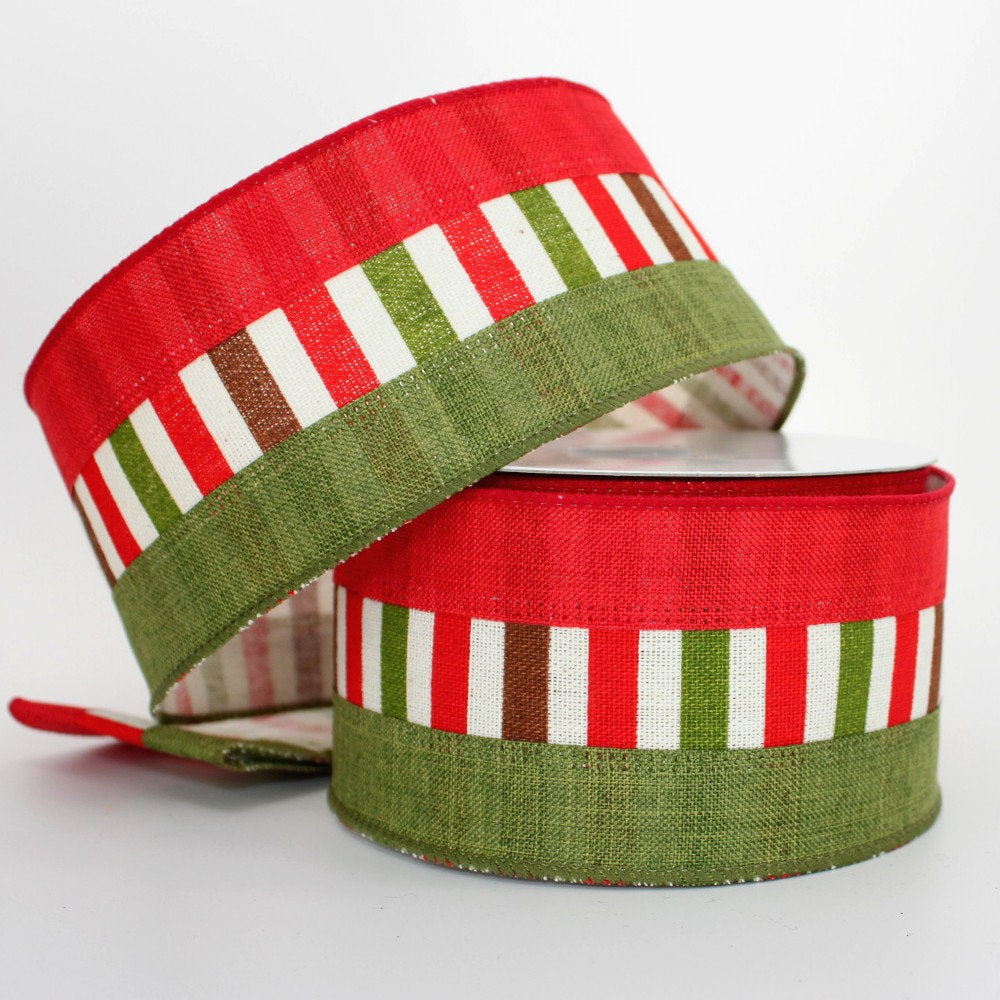 10 yards red moss green multi stripe christmas wired ribbon