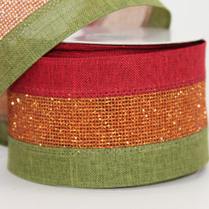 10 yards Tri Color Metallic Stripe Christmas Wired Ribbon