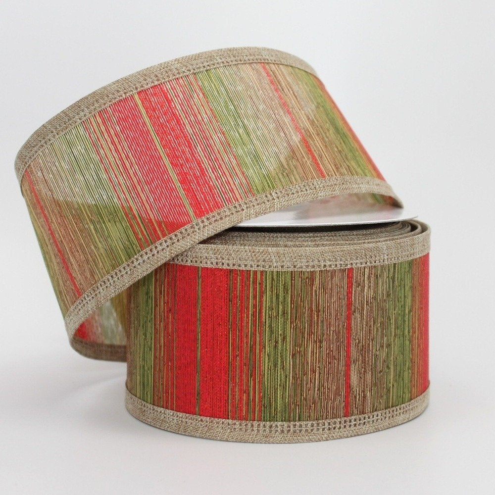 10 yards Natural Metallic Center Christmas Wired Ribbon