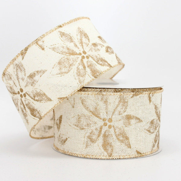 10 yards Rustic Gold Poinsettia Wire Edge Ribbon