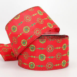 10 yards Sparkle Dot Dash Christmas Wire Edge Ribbon