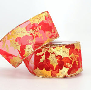 10 yards Red Antique Gold Holly Christmas Wire Edge Ribbon
