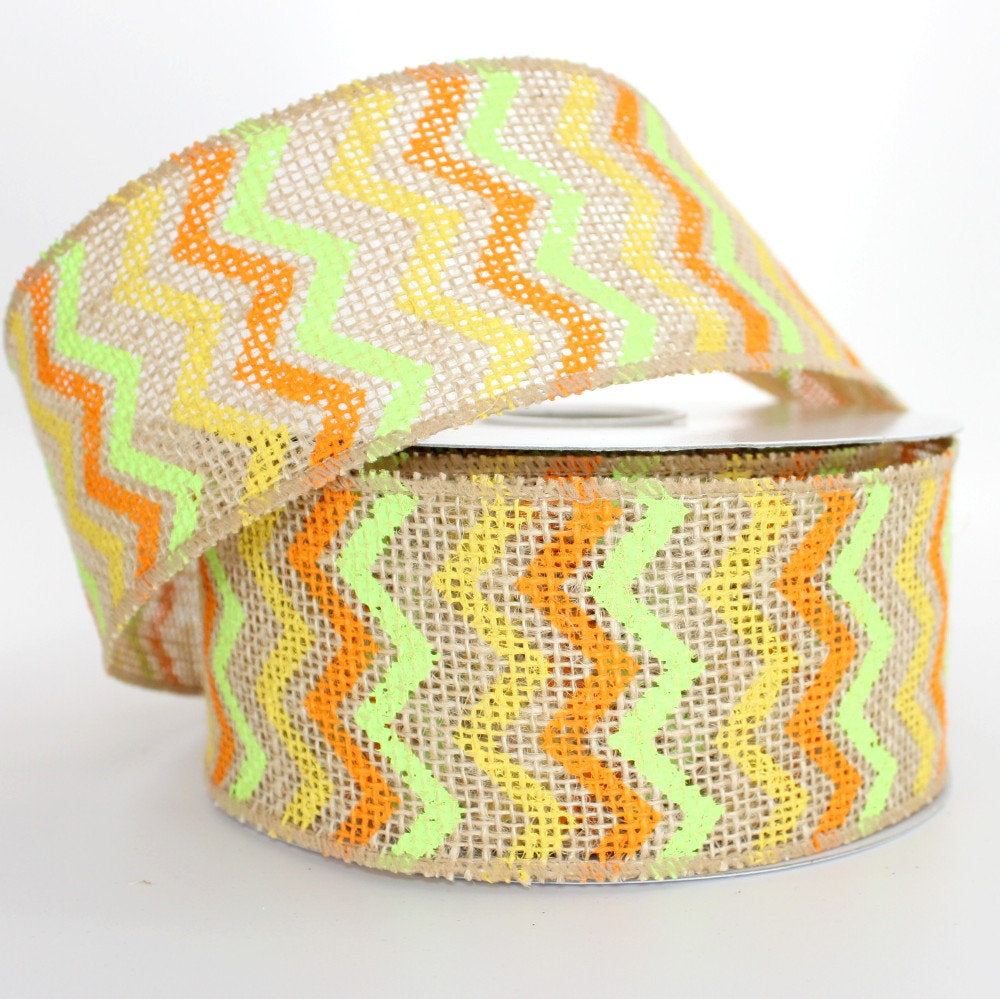10 yards Summer Chevron Burlap Wire Edge Ribbon