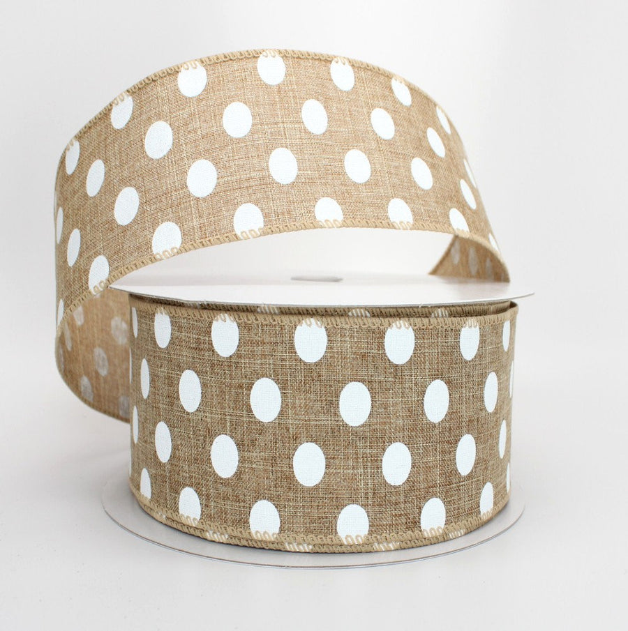 10 yards Natural Linen White Polka Dot Wire Edge Ribbon