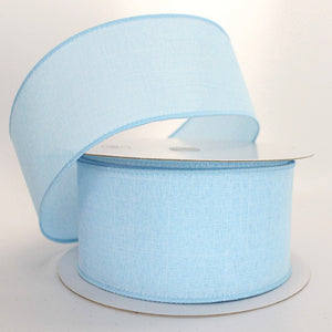 10 yards Light Blue Linen Wire Edge Ribbon