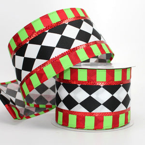 10 yards Harlequin Stripe Edge Christmas Wire Edge Ribbon