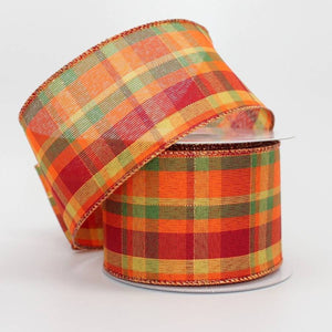10 yards Vibrant Fall Plaid Wire Edge Ribbon