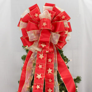 Red Gold Star Christmas Tree Bow Topper Bow