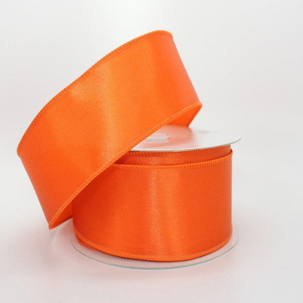 10 yards Orange Satin Halloween Wire Edge Ribbon