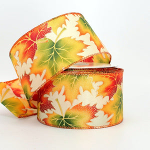10 yards Vibrant Fall Leaves Cream Satin Wire Edge Ribbon