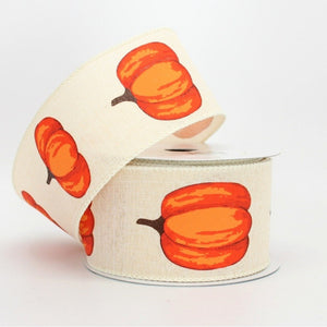 10 yards Fall Pumpkin Cream Rustic Wire Edge Ribbon