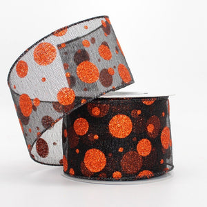 10 yards Sparkle Dot Metallic Halloween Wire Edge Ribbon