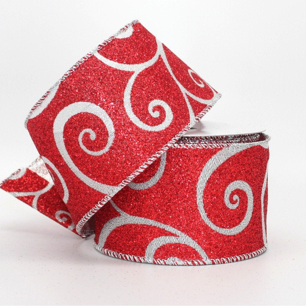 10 yards Red Sparkle Silver Swirl Christmas Wire Edge Ribbon