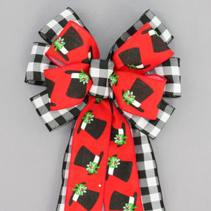 Buffalo Plaid Snowman Hat Christmas Wreath Bow