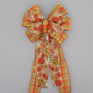 Fall Rustic Pumpkin Plaid Wreath Bow