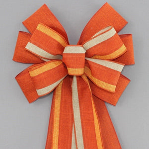 Burnt Orange Trio Rustic Fall Wreath Bow