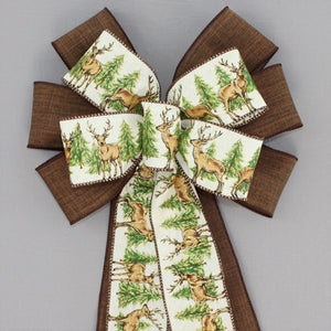 Deer in Forest Brown Rustic  Christmas Bow
