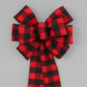 Red Black Buffalo Flannel Plaid Christmas Bow