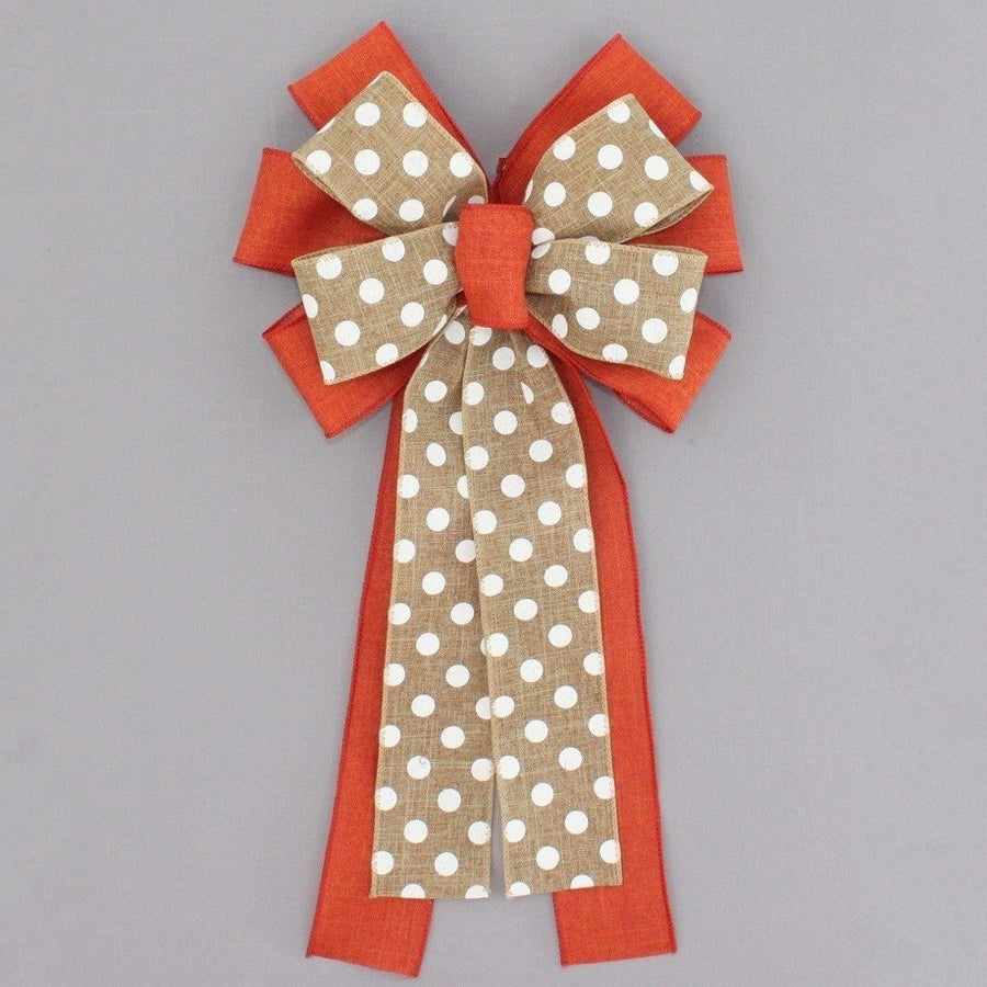 Burnt Orange Rustic Natural Polka Dot Fall Wreath Bow