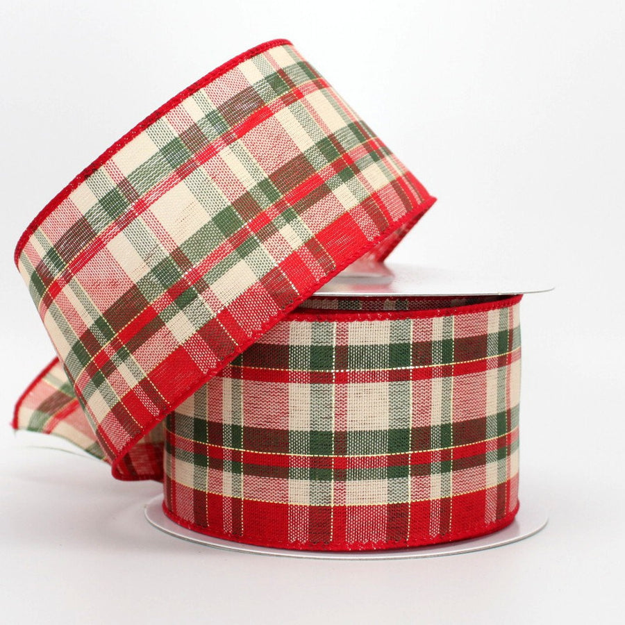 10 yards Rustic Christmas Plaid Christmas Wire Edge Ribbon