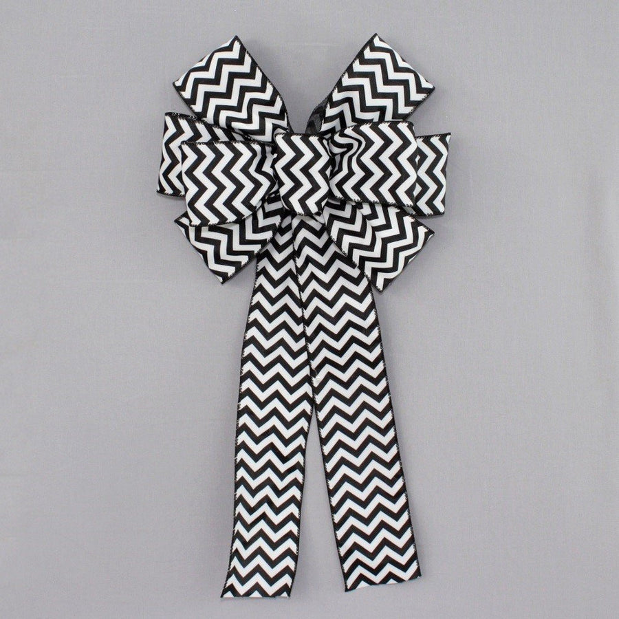 Black White Chevron Christmas Bow