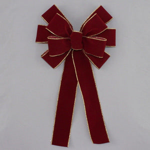 Burgundy Gold Edge Velvet Wire Edge Christmas Bow