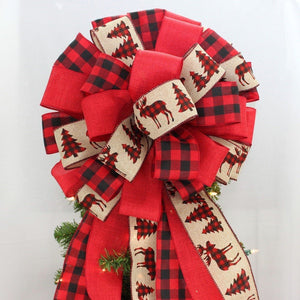 Buffalo Plaid Rustic Tree Moose Christmas Tree Topper Bow