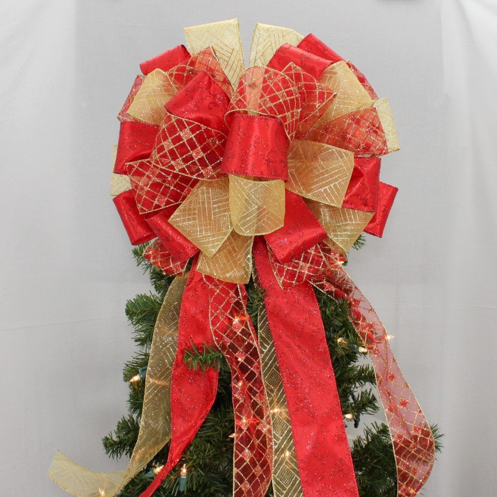 Red And Gold Christmas Trees: Red Gold Harlequin Swirl Christmas Tree Bow Topper Bow