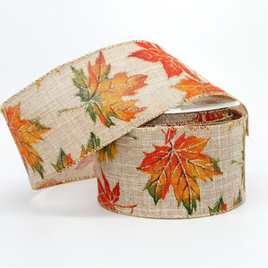 10 yards Rustic Fall Leaves Linen Wire Edge Ribbon