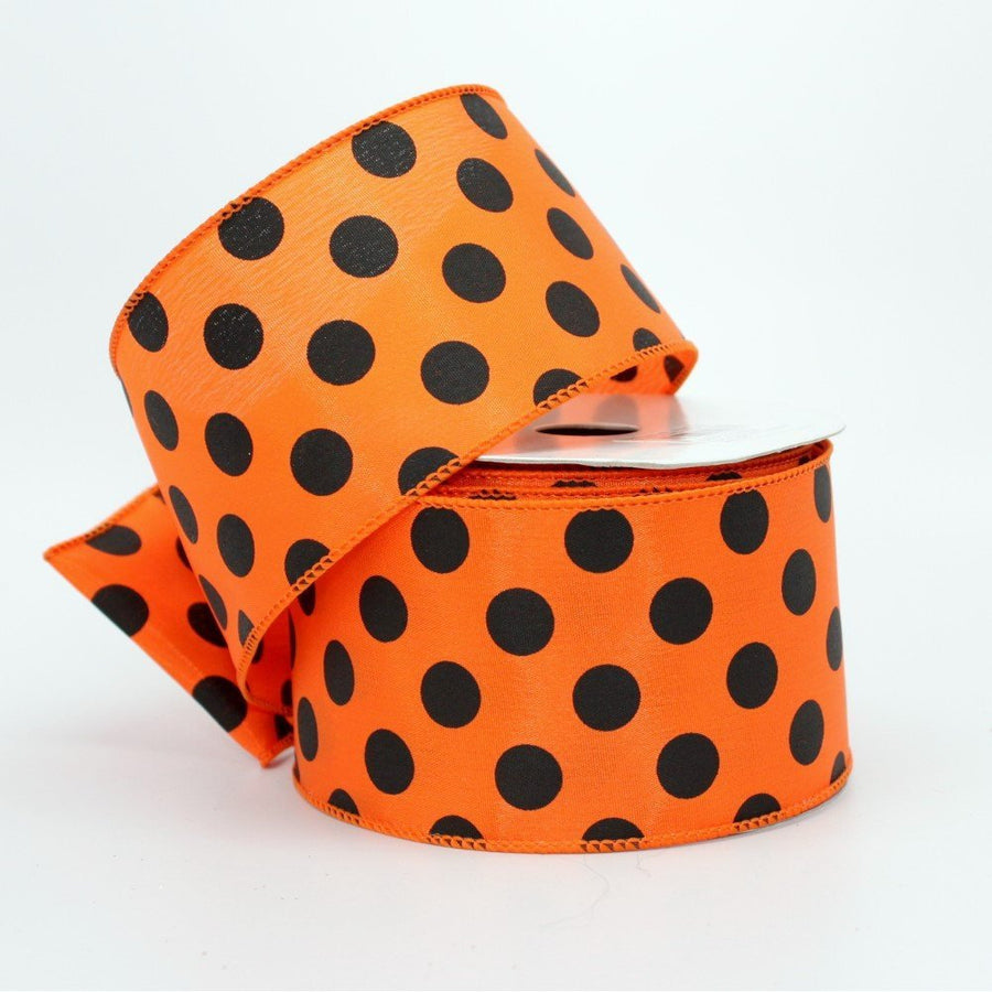 10 yards Big Polka Dot Halloween Wire Edge Ribbon