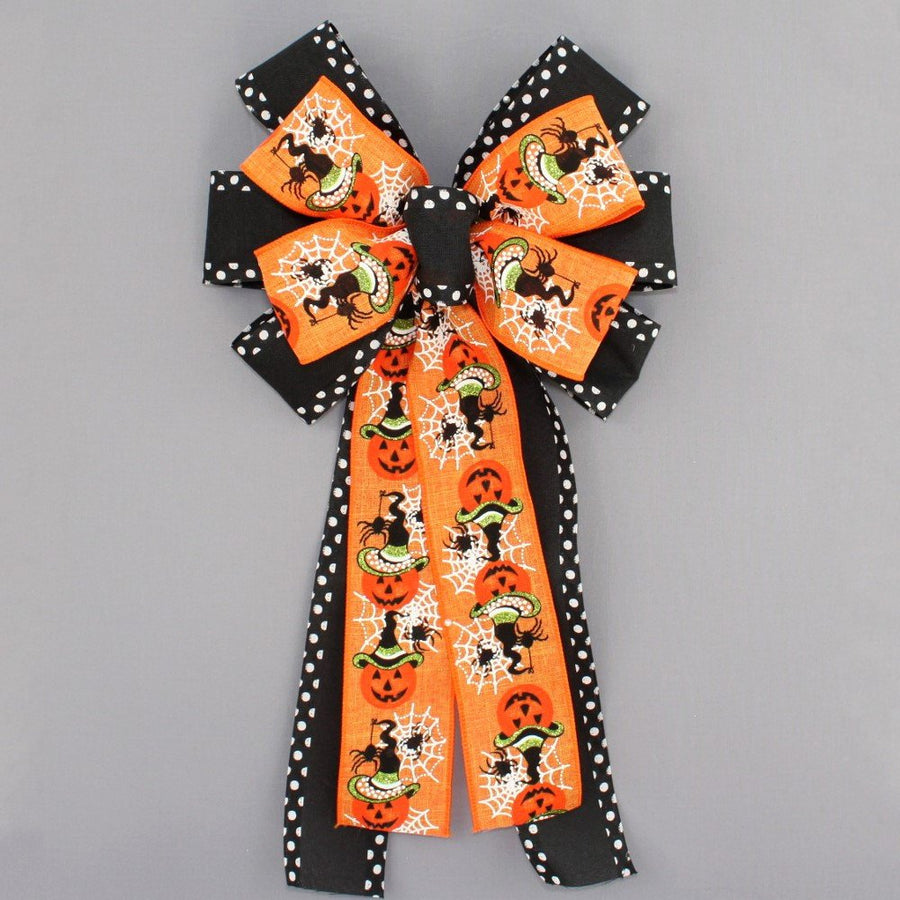 Festive Pumpkin Spider Polka Dot Halloween Wreath Bow