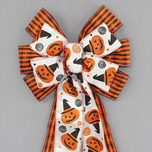 Halloween Plaid Spider Web Edge Bow