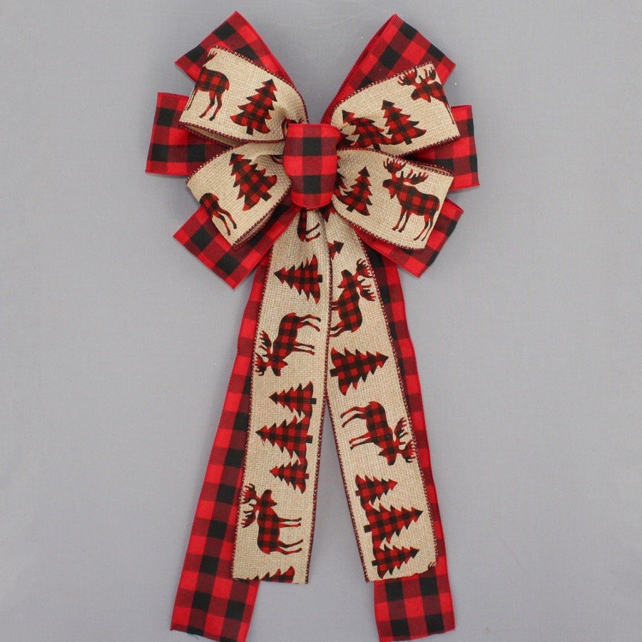 Buffalo Plaid Rustic Tree Deer Christmas Wreath Bow