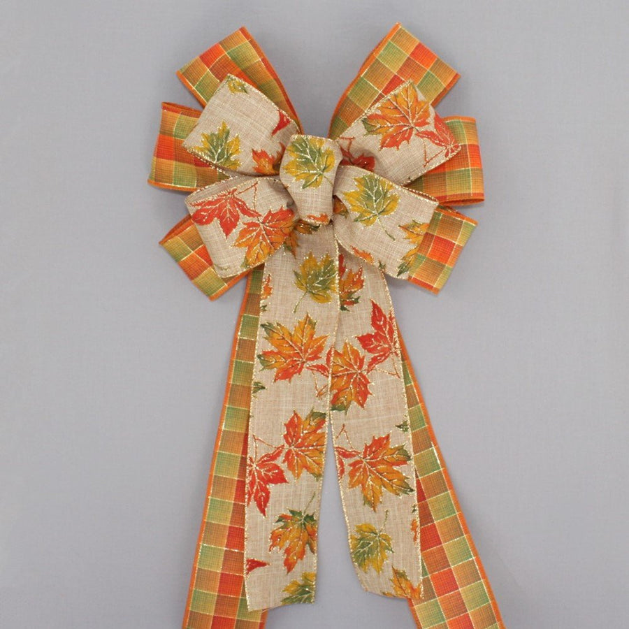 Fall Rustic Maple Leaves Plaid Wreath Bow