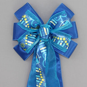 Happy Hanukkah Royal Blue Wreath Bow
