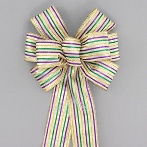 Harlequin Sparkle Metallic Mardi Gras Wreath Bow