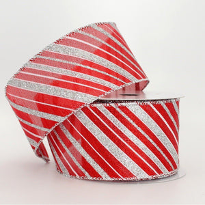 10 yards Red Silver Diagonal Stripe Christmas Wire Edge Ribbon