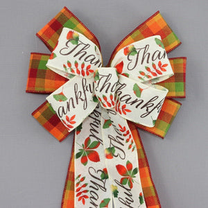 Thankful Fall Vibrant Plaid Wreath Bow