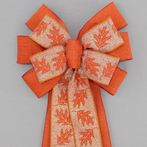 Sparkle Fall Leaf Burnt Orange Rustic Wreath Bow
