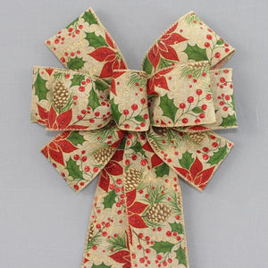 Rustic Poinsettia Berry Christmas Wreath Bow