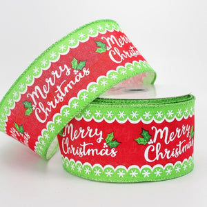 10 yards Whimsical Merry Christmas Wire Edge Ribbon