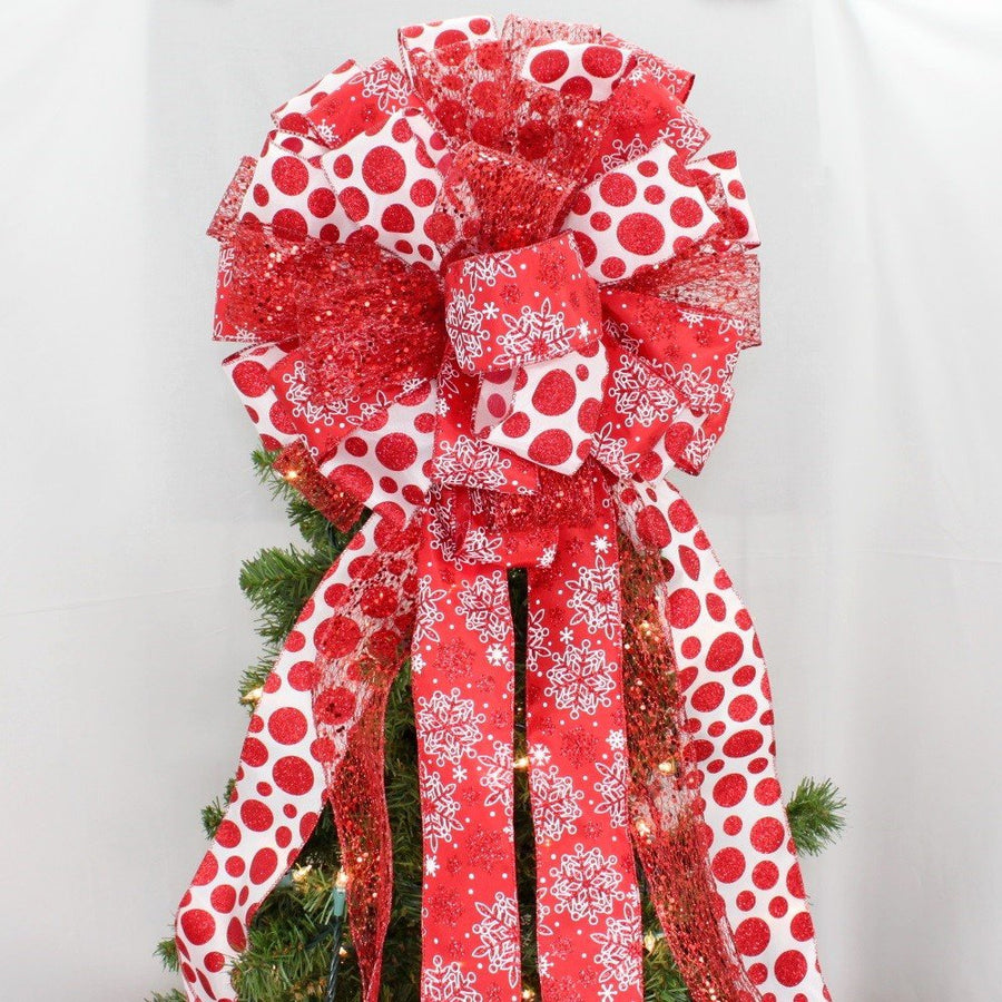 Red Sparkle Snowflake Dot Christmas Tree Bow Topper