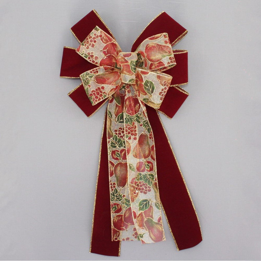 Burgundy Velvet Holiday Fruit Christmas Bow