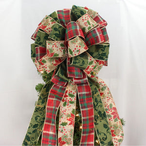 Rustic Poinsettia Plaid Christmas Tree Topper Bow