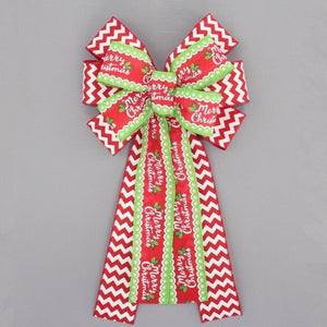 Whimsical Merry Christmas Chevron Christmas Wreath Bow