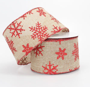 10 yards Rustic Red Sparkle Snowflake Christmas Wire Edge Ribbon