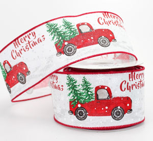 10 yards Merry Christmas Rustic Truck Wire Edge Ribbon