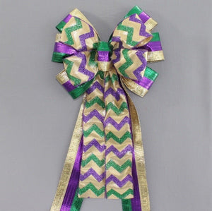 Metallic Stripe Sparkle Chevron Mardi Gras Bow