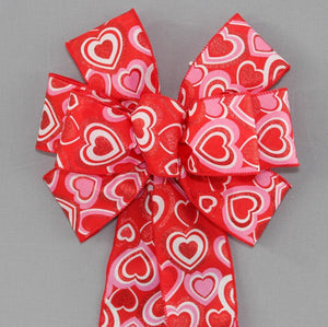 Red Sparkle Hearts Valentine's Day Bow