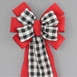 Black White Buffalo Plaid Red Wreath Bow